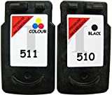 Canon PG-510/CL-511Cartouches d'encre noir et couleur Multipack pour Canon Pixma iP2700, IP2702,, MP230, mp235, MP240, MP250, MP252, MP260, MP270, MP272, MP280, MP282, MP330, MP480, MP490, MP492, MP495, MP499, MX320, MX330, MX340, MX350, MX360, MX410, MX