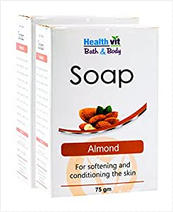 Healthvit Bath and Body Almond Soap, 75g  (Pack of 2)