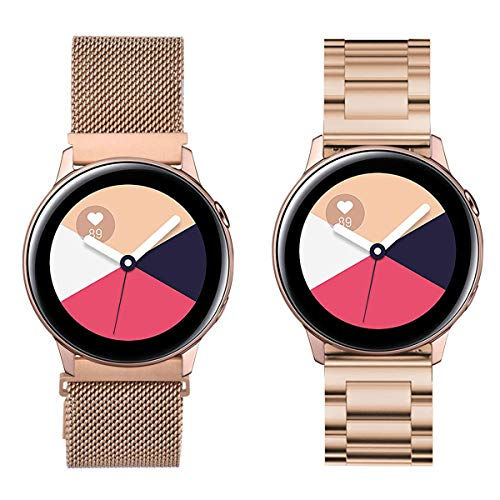 VIGOSS Kompatible Für Samsung Galaxy Watch Active 40mm Armband Rose Gold Metall Edelstahlarmband Männer Ersatz Armband Für Samsung Galaxy Watch Active 40mm Smartwatch (Metall + Mesh, Rosegold)