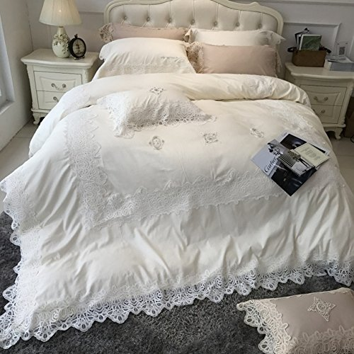 LifeisPerfect 4 Pcs 100% ägyptische Baumwolle Luxus Rein Weiße Bettwäsche mit Großen Spitzen Bettdecken Mädchen Prinzessin Bettwäsche Königin König Blätter