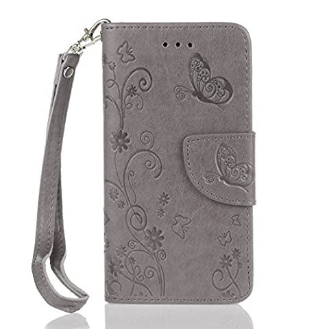 iPhone 6 6S Premium Leather Gray Wallet Flip Case Cover Pouch,Cozy Hut iPhone 6 6S Leather Case + Invisible Strong Magnetic Buckle Style With Hand Wrist Strap,Butterflies and flowers Pattern Design Flip PU Leather Wallet Card Slot Stand Case Cover For iPhone 6 6S 4.7 inch -