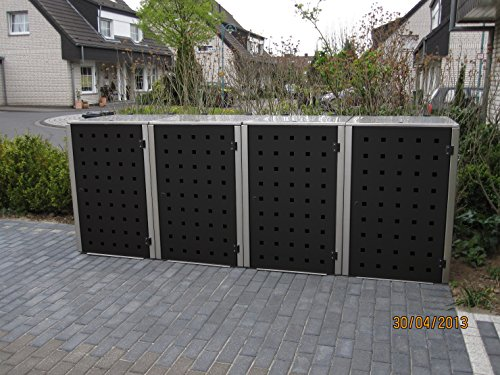Mülltonnenbox Edelstahl, Modell Eleganza, 240 Liter, Viererbox, in RAL 7026 Granitgrau