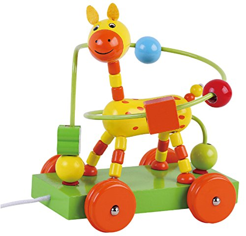 Sun Baby AB3352 Labyrinth – Holzgiraffe auf Rädern, mehrfarbig