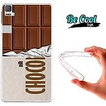 Becool® Fun - Funda Gel Flexible para Bq Aquaris E6 .Carcasa TPU fabricada con la mejor Silicona, protege y se adapta a la perfección a tu Smartphone y con nuestro diseño exclusivo Tableta de chocolate