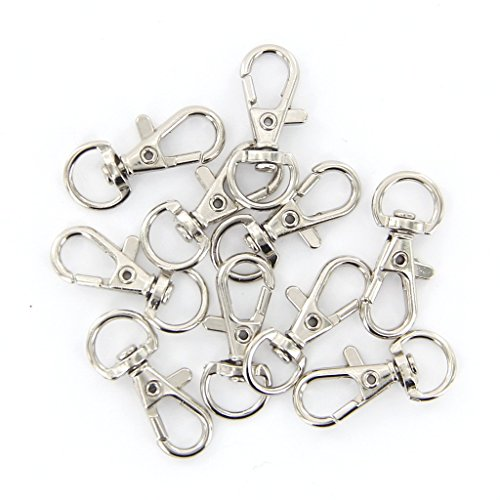 SODIAL(R) 10pcs silver hooks 12mm x 30mm swivel trigger Test
