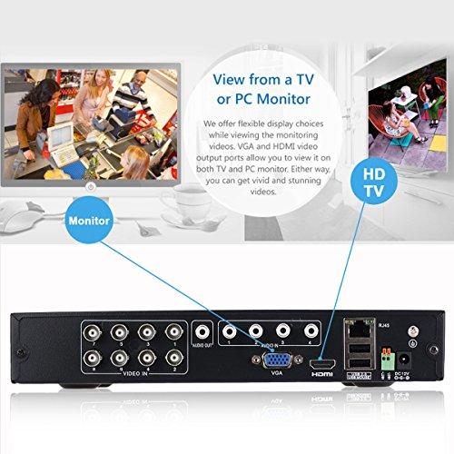 FLOUREON DVR Kit Videosorveglianza (8CH 1080N AHD HDMI DVR + 4 * 960P 2000TVL 1.3MP Telecamera Esterno), Backup USB, Allarme Email, Sistema di Sicurezza, Hard Disk Non Incluso - 7