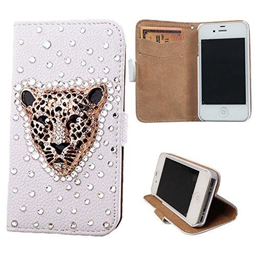 xhorizon® Premium Leder Tasche Flip 3D Blinkend Strass Diamant Kristall Stand Brieftasche Case Hülle für iPhone 4/4s/5/5s/6/6+ Plus Samsung GALAXY S3/S4/S5/Note2/Note3/S3 Mini/S4 Mini Golden leopard