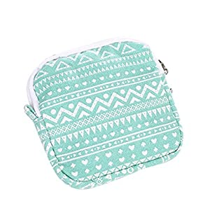 F-eshion Women Girl Cute Sanitary Pad Organizer Holder Sanitary Pad Portable Storage Bag Napkin Towel Convenience Bags Zip Bag Pouch (Green)