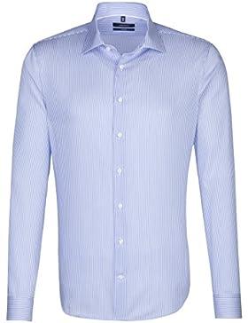 SEIDENSTICKER Herren Hemd Tailored 1/1-Arm Bügelleicht Streifen City-Hemd Kent-Kragen Kombimanschette weitenverstellbar
