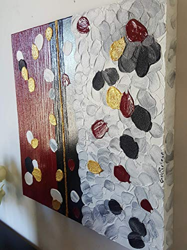 Doron arte quadro moderno astratto dipinto a mano telaio gallery bordi dipinti - red passion - 50x50x4 cm -rif52