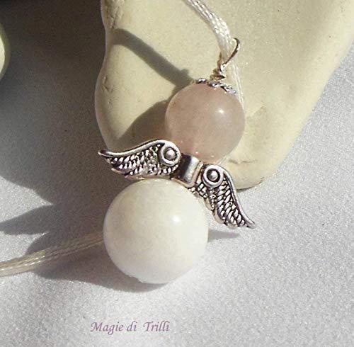 Magie di Trilli - Collana ciondolo artigianale angelo custode pietra dura: agata bianca e giada rosa, in argento tibetano: regalo per Pasqua e Comunione - Cresima