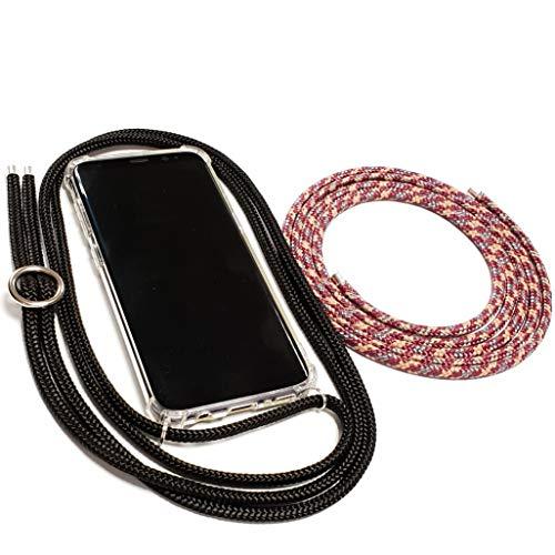 Pink Cinnamon Set Handykette mit Smartphone Hülle Plus Wechselband für Huawei P20 Band: Black, Wechselband: Classy Bordeaux, Metallteile: Silber