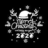 Auied Buchstaben 2020 Geweih Weihnachten Hut PVC Aufkleber Wandaufkleber Wohnzimmer Dekoration