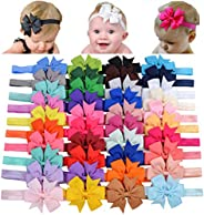 Choicbaby 40 diademas de lazo de grogrén para niñas y bebés, de 3 pulgadas, accesorios para el pelo para bebés