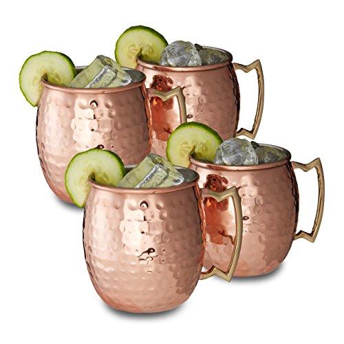 4x Moscow Mule Becher, Edelstahltassen, Cocktail Becher, Highballs, 50 cl, HxBxT: ca. 9,5 x 8 x 8 cm, verkupfert, kupfer - Regal Highball