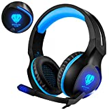 BUTFULAKE Gaming Headset mit Mic f�r PS4 PC / LED Licht / Bass Surround Stereo / One Key Mic Mute / Soft Memory Ohrensch�tzer 3.5mm Wired Over-Ear Kopfh�rer f�r PS 4, XBOX One, Nintendo Switch, PC, Laptops, Handys (Blau) Bild