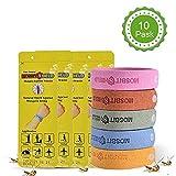 QMHN Mückenschutz Armband, Deef-Freies und Wasserdichtes 100% NatüRlichen Sicheres TragbareInsektenschutz-Armband, FüR Kinder Erwachsene-10 Stück(5 Farben)