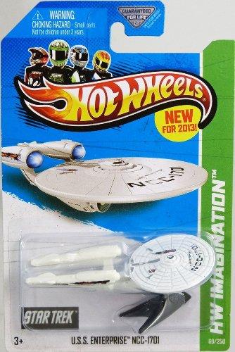 BATTLE DAMAGED 2013 Hot Wheels HW Imagination - Star Trek - USS Enterprise NCC-1701 1:64 Scale Collectible Die Cast Car Model with Flames by Hot Wheels (Star Trek-battle Damaged)