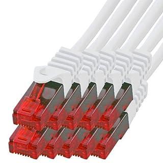BIGtec - 10 Stück - 1m Gigabit Netzwerkkabel Patchkabel Ethernet LAN DSL Patch Kabel weiß (2X RJ-45 Anschluß, CAT.5e, kompatibel zu CAT.6 CAT.6a CAT.7) 1 Meter
