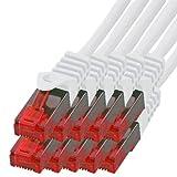 BIGtec - 10 Stück - 1m Gigabit Netzwerkkabel Patchkabel Ethernet LAN DSL Patch Kabel weiß ( 2x RJ-45 Anschluß , CAT.5e , kompatibel zu CAT.6 CAT.6a CAT.7 ) 1 Meter