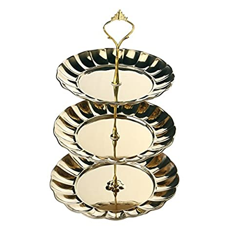 BESTOMZ Round Cupcake Stand Tower 3-Tier Fruit Display Stand Pastry Dessert Plate Stainless Steel