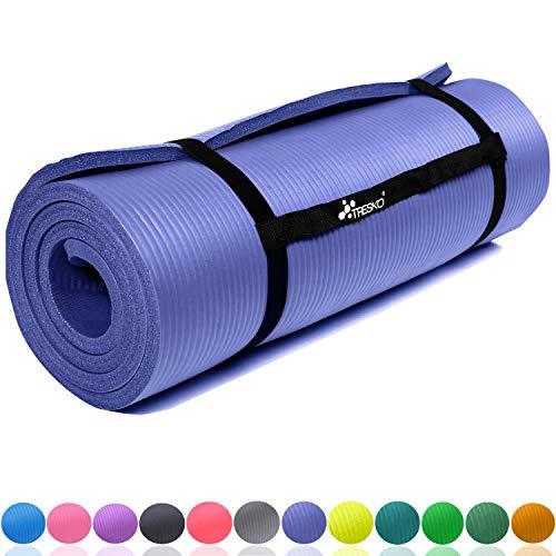 TRESKO Fitnessmatte Yogamatte Pilatesmatte Gymnastikmatte | 185 x 60cm oder 190 x 100cm | 1,0 oder 1,5cm stark | Phthalates-getestet | NBR Schaumstoff (Dunkelblau, 185 x 60 x 1 cm)