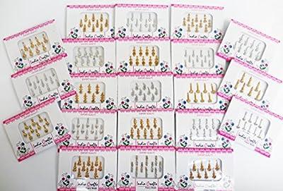 12Paquetes-84plata/oro bindis frente joyas