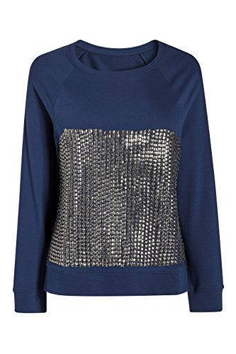 next Femme Petite Fit T-Shirt Orné De Clous Bleu