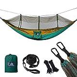 NATUREFUN Ultraleichte Moskito Netz Camping Hängematte / 300kg Tragfähigkeit,(275 x 140 cm) Fallschirm Nylon / 2 x Premium Karabinerhaken 4 x Nylonschlingen
