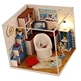 FLAMEER 1/24 Basteln Puppenhaus Dollhouse Arbeitszimmer mit Möbel und LED Set