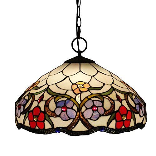 Tiffany Style Pendelleuchten, ZYF Beleuchtung Titania Antik Und Jeweled Uplighter Flower Design Deckenleuchte Anhänger Glasmalerei Schatten, 30 * 40Cm -