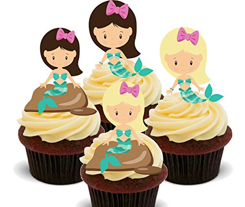 Made4You Meerjungfrauen Essbare Kuchen Dekorationen - Stand-Up Wafer Cupcake Topper, 12er-Pack (Cupcake Mermaid Little)