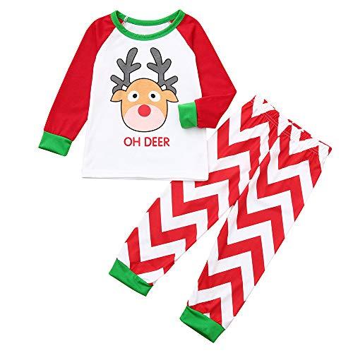 Weihnachten Familie Set Mama Papa Baby Karikatur Elch Bedruckt Patchwork Top+Streifen Hosen Familie Schlafanzüge Weihnachtspyjama Xmas Nachtwäsche