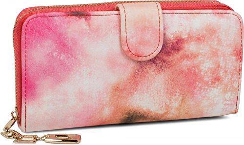styleBREAKER Geldbörse mit Aquarell Muster, umlaufender Reißverschluss, Portemonnaie, Damen...
