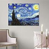Quadro Van Gogh Notte Stellata, Stampa su Tela Canvas 70 x 50 cm | Quadri Moderni Soggiorno XXL, Camera da Letto, Salotto, Cucina | Riproduzioni Vincent Parete Cielo Stellato | Made in Italy