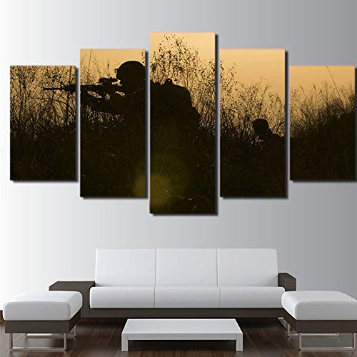 5 Stück HD Gedruckt Leinwanddrucke Malerei leinwand kinderzimmer dekor / pcs soldaten waffen silhouetten wandkunst modulare bild poster