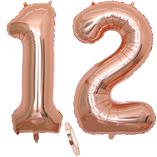 2 Luftballons Zahl 12, Nummer 12 Luftballon Rosegold Mädchen ,40