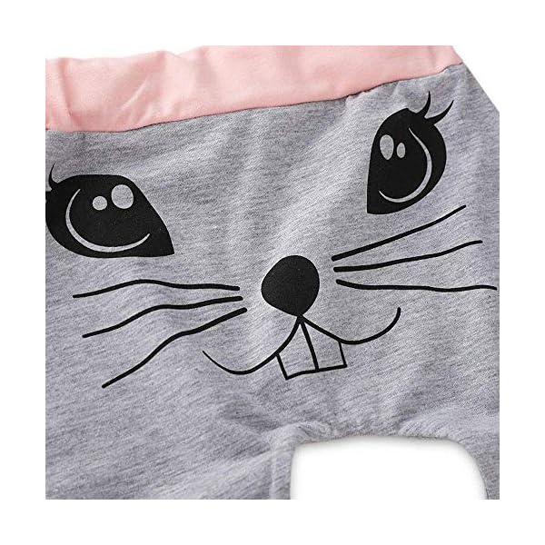 Ropa Bebé Niña Conjunto Niña Pantalon y Top Fiesta Bebé Niña Niños Mamelucos de Manga Larga de Conejo de impresión… 4