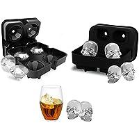 HOMCA 3D Calavera / Diamante Cubito de Hielo Bandeja Molde con Tapa, Silicona de Grado Alimentario Bandeja de Hielo para Whisky Hielo y Cócteles