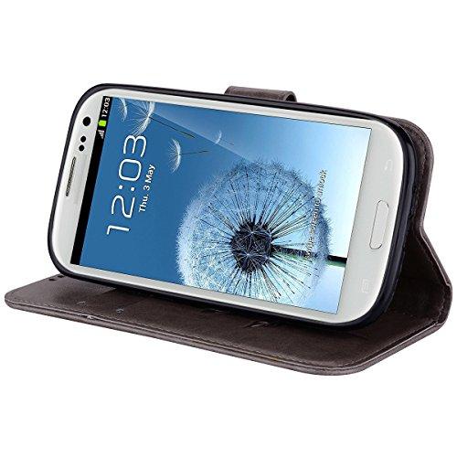 Coque Samsung S3 Anfire Fleur Motif Peint Mode Coque PU Cuir pour Galaxy S3 Etui Case Protection Portefeuille Rabat Étui Coque Housse pour Samsung Galaxy S3 i9300 (4.8 pouces) Luxe Style Livre Pochett Gris