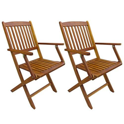 vidaXL Lot de 2 chaises de Jardin en Bois d'acacia