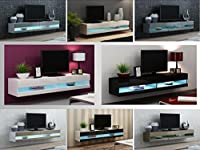 CAMA High Gloss TV Stand LED Entertainment Cabinet - 180cm Floating Wall Unit - 7 Colours