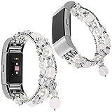 For Fitbit Charge 2 Armband, lala Pink Luxury Perle Naturstein Elastische Stretch Bead Armband Bands Ersatz Armbänder Band für Fitbit Charge 2 Dekorative Bands Frauen Mädchen (Weiß)