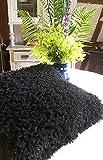 Kissen schwarz mit Füllung Zottelkissen Kuschelkissen 45 x 45 Fluffy