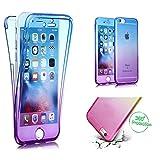 Handytasche für iPhone 5, CESTOR [Ultra-Weiche Clear Silikon] Dual-Layer 360 Grad Luxus Durchsichtig TPU Gradient Farbe Kratzfest Schutzhülle für iPhone SE/5S/5, Blau+Lila