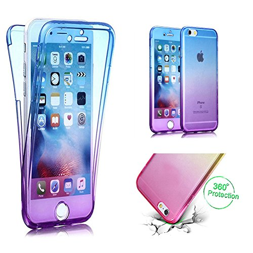 Handytasche für iPhone 7, CESTOR [Ultra-Weiche Clear Silikon] Dual-Layer 360 Grad Luxus Durchsichtig TPU Gradient Farbe Kratzfest Schutzhülle für iPhone 8/7, Blau+Lila - Dual 7