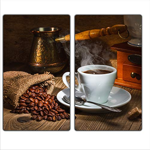 FTB Gsmarkt | Herdabdeckplatten Schneidebrett Spritzschutz Set 2x30x52 | Bild auf Glas | Sicherheitsglas Gehärtetes Glas Bild | Motiv Kaffee (Kaffee-glas-schneidebrett)