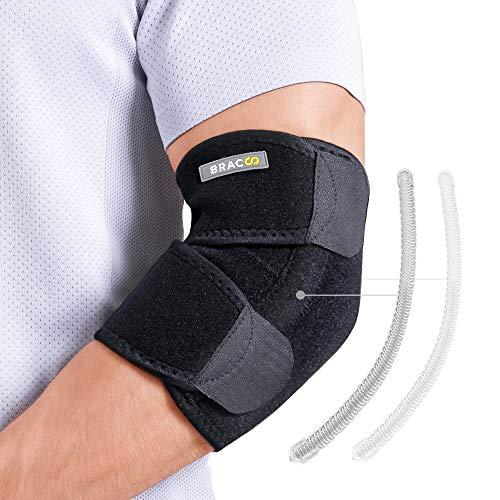 BRACOO Ellenbogenbandage mit Verstärkung | atmungsaktive Ellenbogenschiene mit Klettverschluss für extra Halt | EP30