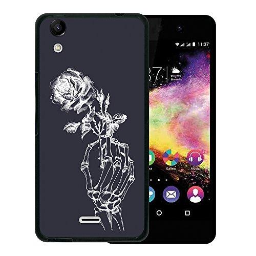 WoowCase Wiko Rainbow Up Hülle, Handyhülle Silikon für [ Wiko Rainbow Up ] Skeletthand & Rose Handytasche Handy Cover Case Schutzhülle Flexible TPU - Schwarz