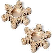 Zwei Festive Holz Snowflake Teelicht U2013 Rustikal Gestylt Weihnachten  Kerzenhalter Mit Modernen Glitzer Finish U2013 Ideal
